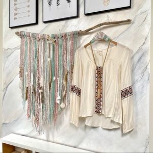 BILLABONG Sweet BOHO peasant BLOUSE w embroidery